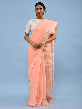 Peach Chikankari Cotton Blend Saree
