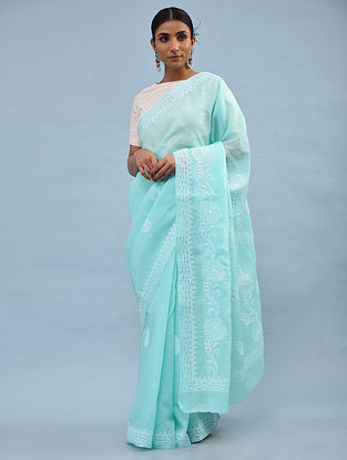 Green Chikankari Cotton Blend Saree