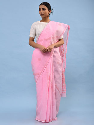 Pink Chikankari Cotton Blend Saree