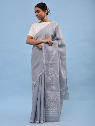 Grey Chikankari Cotton Blend Saree
