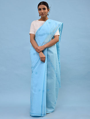 Blue Chikankari Cotton Blend Saree