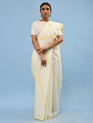 White-Yellow Chikankari Cotton Blend Saree