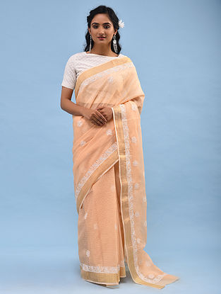 Peach Chikankari Kota Cotton Saree