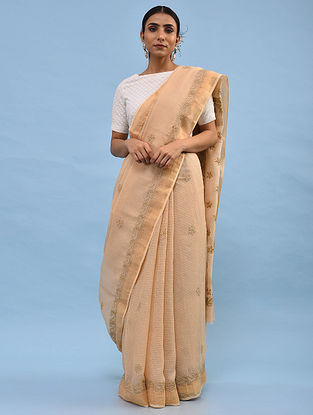 Beige Chikankari Kota Cotton Saree