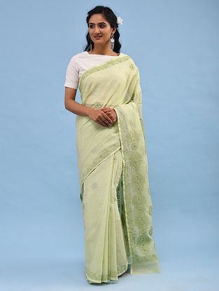 Green Chikankari Kota Cotton Saree