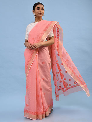 Pink Chikankari Kota Cotton Saree