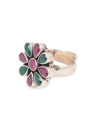 Pink-Green Adjustable Silver Ring