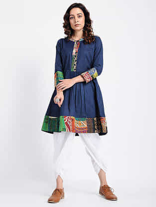 Blue Kantha-Embroidered Cotton Tunic