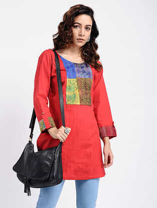 Red Kantha-Embroidered Cotton Tunic