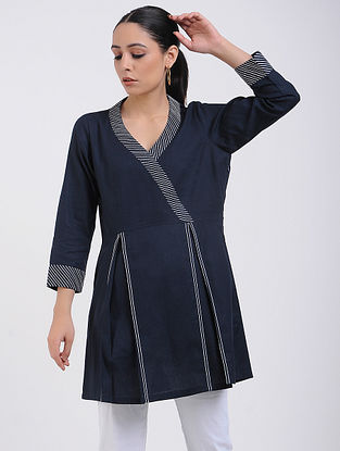 Navy Cotton Tunic with Top Stitch Detail