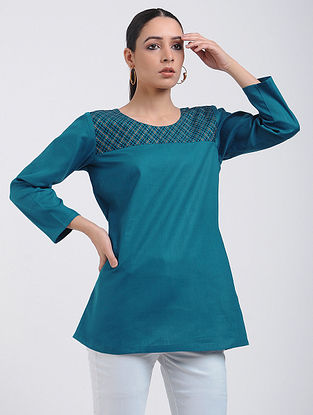 Teal Cotton Tunic with Top Stitch Detail