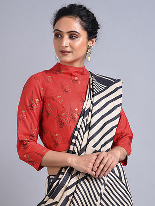 Red Printed Cotton Blouse