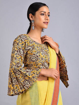 Yellow-Brown Printed Cotton Blouse