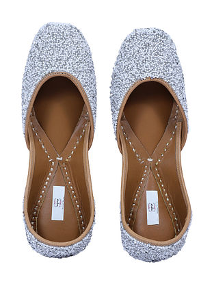 White-Grey Handcrafted Beaded Juttis