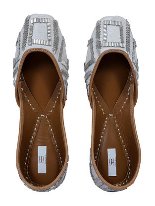 Grey-Silver Handcrafted Embroidered Cotton Silk Juttis