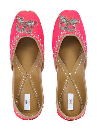 Pink Handcrafted Embroidered Silk Juttis