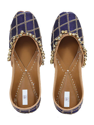 Blue-Gold Handcrafted Cotton Juttis with Ghungroo
