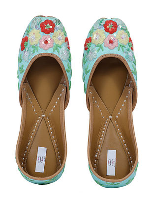 Turquoise-Multicolored Handcrafted Cotton Juttis
