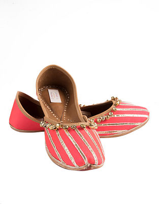 Pink-Gold Handcrafted Silk Juttis with Ghungroo