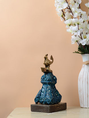 Vintage Inspired Bird Lamp in Brass and Wood Pedestal (L- 5in, W- 3.5in, H- 9.2in)