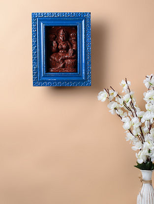 Vintage Inspired Lakshmi in Brass and Wood Frame (10.2in x 8.2in)