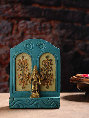 Vintage Inspired Brass Hindu Deity with Wood Backdrop Tabletop Accent (W- 5in, H- 6.6in, Th- 1.7in)