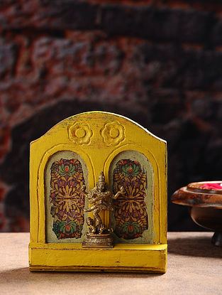 Vintage Inspired Hindu Deity in Brass with Wood Backdrop Tabletop Accent (W- 5in, H- 6in, Th- 1.6in)