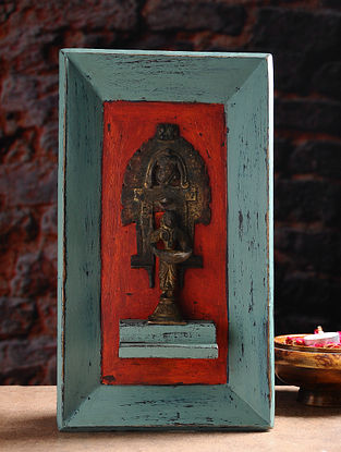 Vintage Inspired Hindu Deity in Brass with Distressed Wood Frame Wall Accent (14.2in x 8.2in)