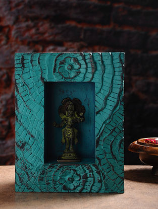 Vintage Inspired Brass Hindu Deity with Wood Frame Wall Accent (W- 7.2in, H- 9.5in, Th- 3in)