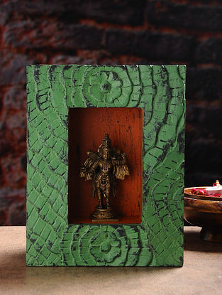 Vintage Inspired Brass Hindu Deity with Wood Frame Wall Accent (W- 7.3in, H- 9.3in, Th- 3in)
