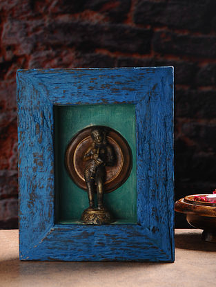 Vintage Inspired Brass Hindu Deity with Wood Frame Wall Accent (W- 8.5in, H- 10.5in, Th- 3in)
