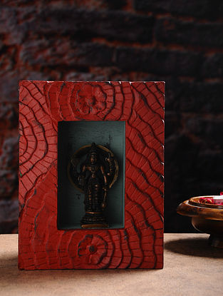 Vintage Inspired Brass Hindu Deity with Wood Frame Wall Accent (W- 7.2in, H- 9.3in, Th- 2.7in)