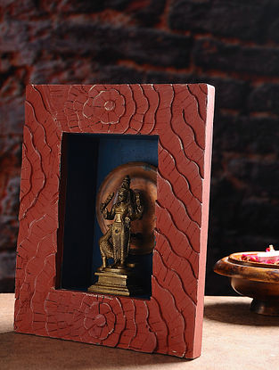 Vintage Inspired Brass Hindu Deity with Wood Frame Wall Accent (W- 8.5in, H- 10.5in, Th- 3.3in)