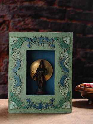 Vintage Inspired Brass Hindu Deity with Wood Frame Wall Accent (W- 7.7in, H- 9.7in, Th- 2.5in)