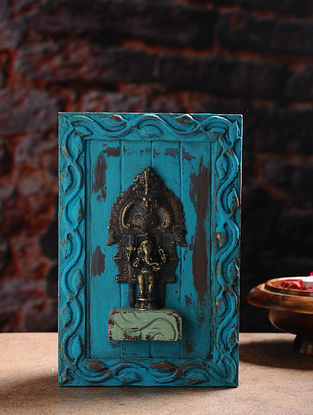 Vintage Inspired Hindu Deity in Brass with Distressed Wood Frame Wall Accent (9.2in x 6in)