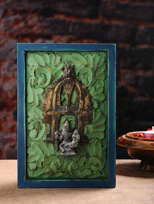 Vintage Inspired Hindu Deity in Brass with Distressed Wood Frame Wall Accent (9.6in x 6.5in)