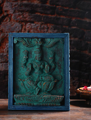 Vintage Inspired Hand Made Wooden Lakshmi on Distressed Wood Background Wall Accent (12in x 9.3in)
