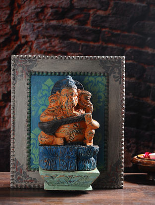 Vintage Inspired Wooden Ganesha on Wood Background Wall Accent (L- 13.5in, W- 11.6in, Th- 4in)