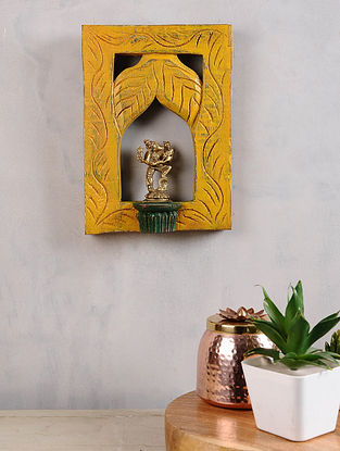 Vintage Inspired Brass Varah Avatar in Distressed Wood Frame (11in x 8in)