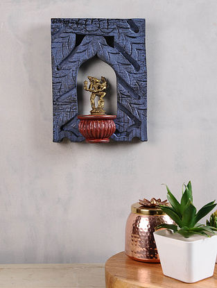 Vintage Inspired Brass Varah Avatar in Distressed Wood Frame (10.5in x 8.5in)