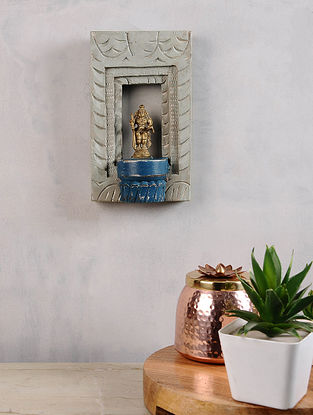 Vintage Inspired Brass Hindu Deity in a Distressed Wood Frame (9.5in x 6in)