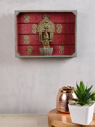 Vintage Inspired Brass Goddess Annapurna with Prabhavali in Distressed Wood Frame (9in x 12in)
