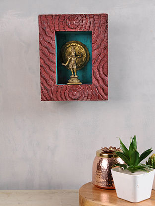 Vintage Inspired Brass Hindu Deity in Distressed Wood Frame (10in x 8.5in)