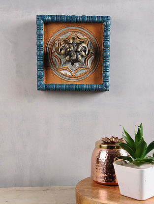 Vintage Inspired Brass Yalli in Distressed Wood Frame (8in x 8in)