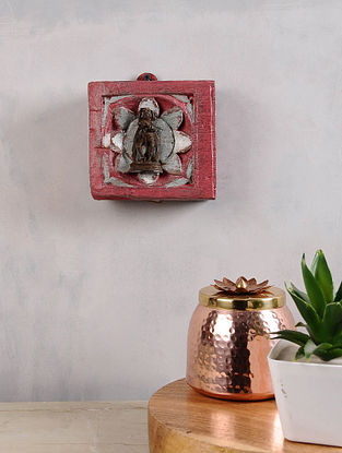 Vintage Inspired Brass Hindu Deity in Distressed Wood Frame (5in x 5.5in)