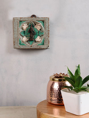 Vintage Inspired Brass Hindu Deity in Distressed Wood Frame (5in x 6in)