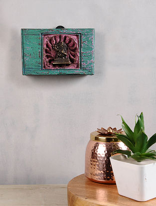Vintage Inspired Brass Hindu Deity in Distressed Wood Frame (4.5in x 7in)