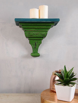 Vintage Inspired Blue and Green Wood Shelf (L - 5in, W - 9.5in, H - 8in)