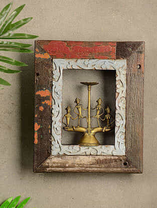Vintage Wood and Brass Wall Accent (12in x 10in)