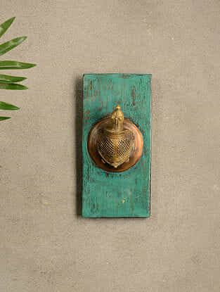 Vintage Wood and Brass Wall Accent (9in x 4.2in)
